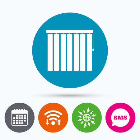 jalousie: Wifi, Sms and calendar icons. Louvers vertical sign icon. Window blinds or jalousie symbol. Go to web globe. Illustration