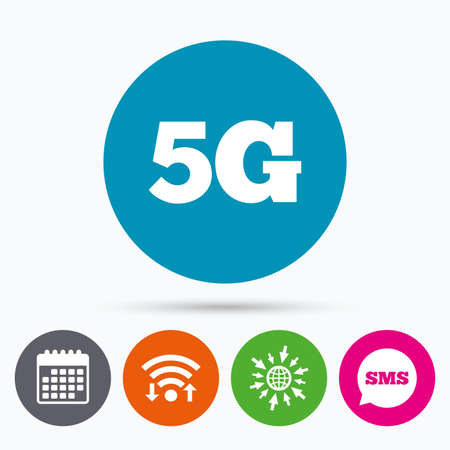 telecommunications: Wifi, Sms and calendar icons. 5G sign icon. Mobile telecommunications technology symbol. Go to web globe. Illustration