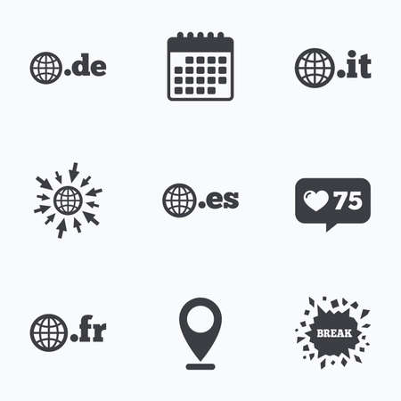 es: Calendar, like counter and go to web icons. Top-level internet domain icons. De, It, Es and Fr symbols with globe. Unique national DNS names. Location pointer.