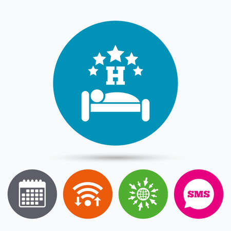 at rest: Wifi, Sms and calendar icons. Five star Hotel apartment sign icon. Travel rest place. Sleeper symbol. Go to web globe.