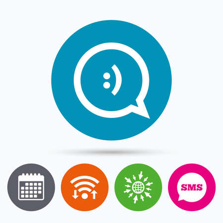 chat bubbles: Wifi, Sms and calendar icons. Chat sign icon. Speech bubble with smile symbol. Communication chat bubbles. Go to web globe. Illustration