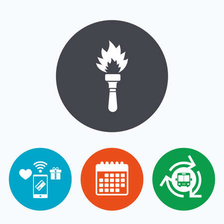 torch flame: Torch flame sign icon. Fire flaming symbol. Mobile payments, calendar and wifi icons. Bus shuttle.
