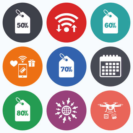 50 to 60: Wifi, mobile payments and drones icons. Sale price tag icons. Discount special offer symbols. 50%, 60%, 70% and 80% percent discount signs. Calendar symbol. Illustration