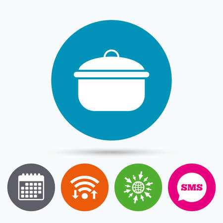 boil: Wifi, Sms and calendar icons. Cooking pan sign icon. Boil or stew food symbol. Go to web globe.