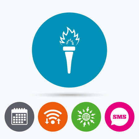 torch flame: wireless, Sms and calendar icons. Torch flame sign icon. Fire flaming symbol. Go to web globe.