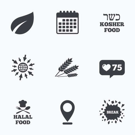 kosher: Calendar, like counter and go to web icons. Natural food icons. Halal and Kosher signs. Gluten free. Chief hat with fork and spoon symbol. Location pointer. Illustration