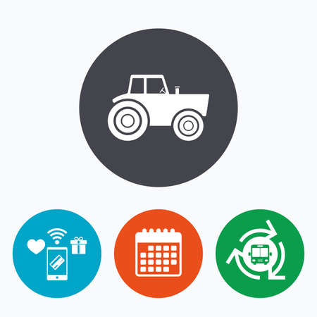 agricultural industry: Tractor sign icon. Agricultural industry symbol. Mobile payments, calendar and wifi icons. Bus shuttle.