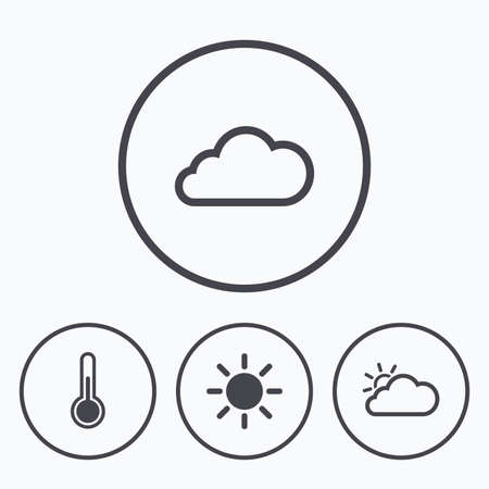 chills: Weather icons. Cloud and sun signs. Thermometer temperature symbol. Icons in circles.