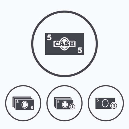 withdrawals: Businessman case icons. Currency with coins sign symbols. Icons in circles.