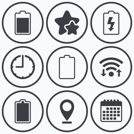 complete: Clock, wifi and stars icons. Battery charging icons. Electricity signs symbols. Charge levels: full, empty. Calendar symbol.