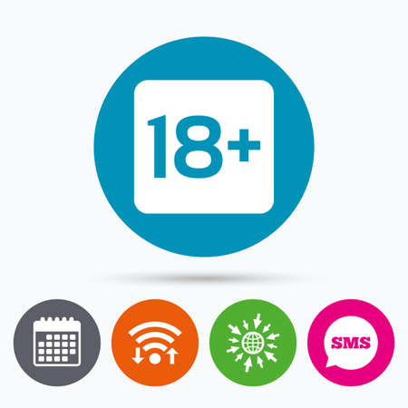 adults only: Wifi, Sms and calendar icons. 18 years old sign. Adults content only icon. Go to web globe.