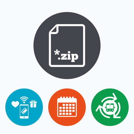 file extension: Archive file icon. Download compressed file button. ZIP zipped file extension symbol. Mobile payments, calendar and wifi icons. Bus shuttle. Illustration