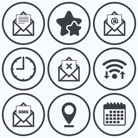 webmail: Clock, wifi and stars icons. Mail envelope icons. Message document symbols. Post office letter signs. Delete mail and SMS message. Calendar symbol.