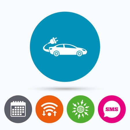 electric vehicle: Wifi, Sms and calendar icons. Electric car sign icon. Sedan saloon symbol. Electric vehicle transport. Go to web globe.