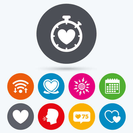 palpitation: Wifi, like counter and calendar icons. Heart ribbon icon. Timer stopwatch symbol. Love and Heartbeat palpitation signs. Human talk, go to web.