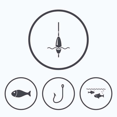 fishermen: Fishing icons. Fish with fishermen hook sign. Float bobber symbol. Icons in circles.