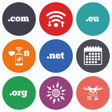dns: Wifi, mobile payments and drones icons. Top-level internet domain icons. Com, Eu, Net and Org symbols. Unique DNS names. Calendar symbol.