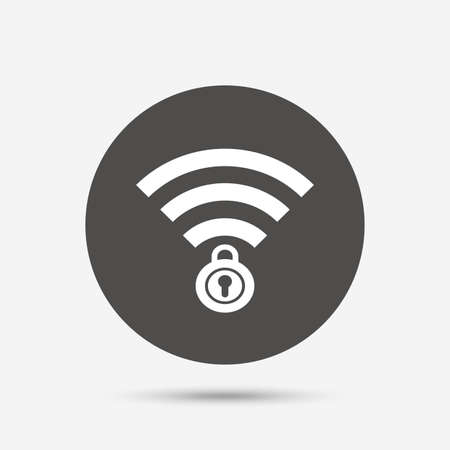 locked: Wifi locked sign. Password Wi-fi symbol. Wireless Network icon. Wifi zone. Gray circle button with icon. Vector