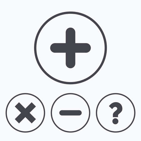clear out: Plus and minus icons. Delete and question FAQ mark signs. Enlarge zoom symbol. Icons in circles.