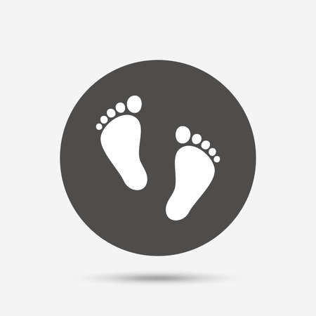 first steps: Child pair of footprint sign icon. Toddler barefoot symbol. Babys first steps. Gray circle button with icon. Vector