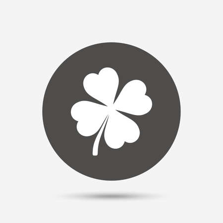 clover button: Clover with four leaves sign icon. Saint Patrick symbol. Gray circle button with icon. Vector