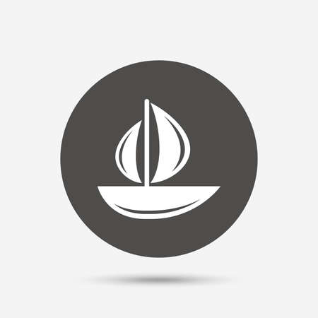 ship sign: Sail boat icon. Ship sign. Shipment delivery symbol. Gray circle button with icon. Vector Illustration