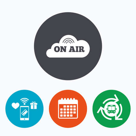 live stream sign: On air sign icon. Live stream symbol. Mobile payments, calendar and wifi icons. Bus shuttle.