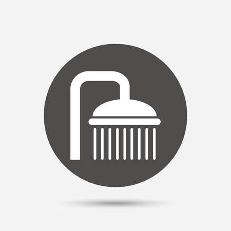 douche: Shower sign icon. Douche with water drops symbol. Gray circle button with icon. Vector