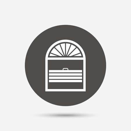 jalousie: Louvers plisse sign icon. Window blinds or jalousie symbol. Gray circle button with icon. Vector Illustration