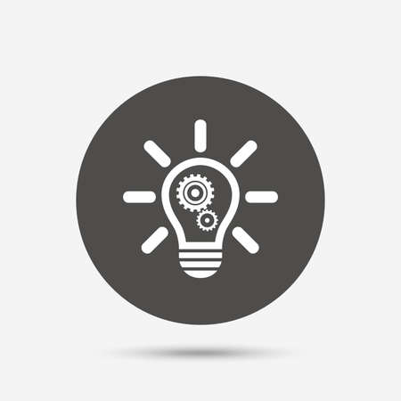 gray bulb: Light lamp sign icon. Bulb with gears and cogs symbol. Idea symbol. Gray circle button with icon. Vector
