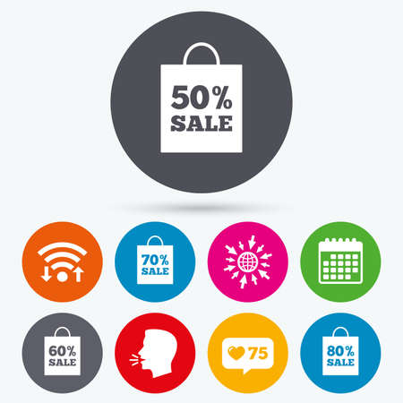 50 to 60: Wifi, like counter and calendar icons. Sale bag tag icons. Discount special offer symbols. 50%, 60%, 70% and 80% percent sale signs. Human talk, go to web. Illustration