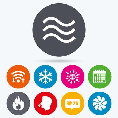 Wifi、カウンターやカレンダー アイコンのような。空調のアイコン。暖房、換気およびエアコンのシンボル。水の供給。気候制御技術の兆候。人間の話は、web に移動。