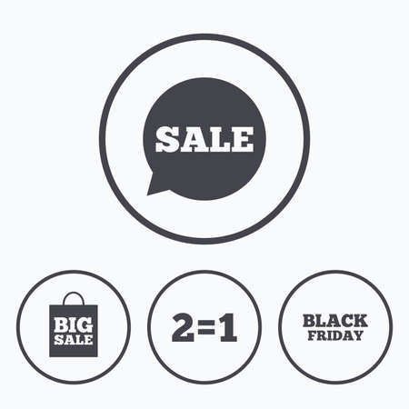 equals: Sale speech bubble icons. Two equals one. Black friday sign. Big sale shopping bag symbol. Icons in circles. Illustration