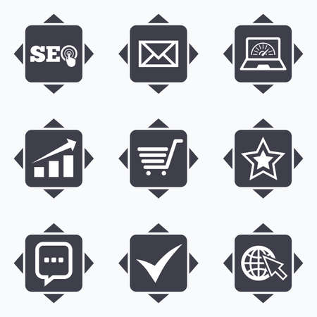 bandwidth: Icons with direction arrows. Internet, seo icons. Tick, online shopping and chart signs. Bandwidth, mobile device and chat symbols. Square buttons. Illustration