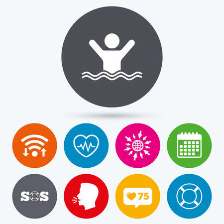 drowns: Wifi, like counter and calendar icons. SOS lifebuoy icon. Heartbeat cardiogram symbol. Swimming sign. Man drowns. Human talk, go to web.