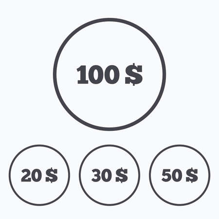 20 30: Money in Dollars icons. 100, 20, 30 and 50 USD symbols. Money signs Icons in circles.