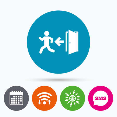 Wifi, Sms and calendar icons. Emergency exit with human figure sign icon. Door with left arrow symbol. Fire exit. Go to web globe.