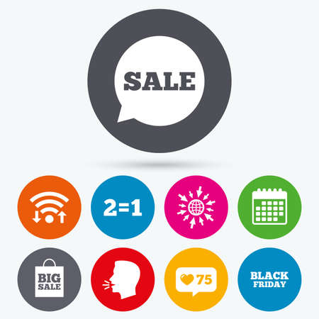 talk big: Wifi, like counter and calendar icons. Sale speech bubble icons. Two equals one. Black friday sign. Big sale shopping bag symbol. Human talk, go to web.