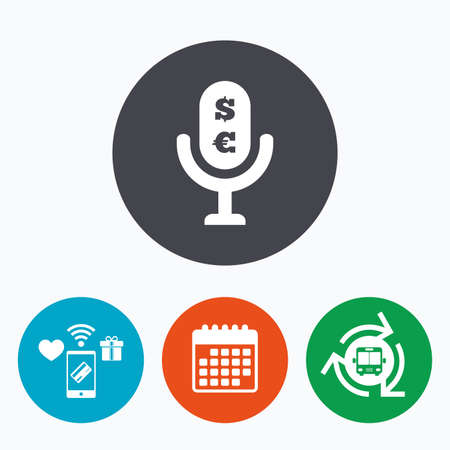 Microphone icon. Speaker symbol. Paid music sign. Mobile payments, calendar and wifi icons. Bus shuttle.