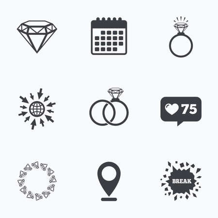 web engagement: Calendar, like counter and go to web icons. Rings icons. Jewelry with shine diamond signs. Wedding or engagement symbols. Location pointer.