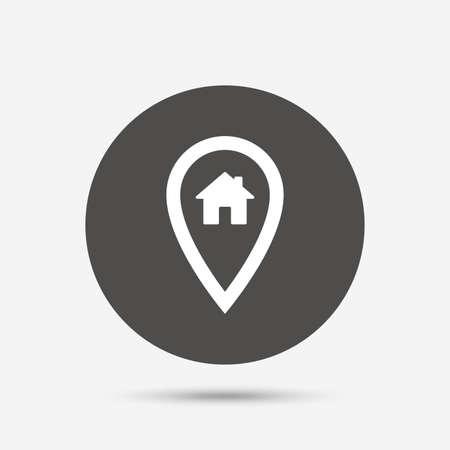 Kaartwijzer huisteken icoon. location Home marker-symbool. Grijze cirkel knop met het pictogram. Vector Vector Illustratie