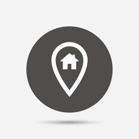 Map pointer house sign icon. Home location marker symbol. Gray circle button with icon. Vector Vektorové ilustrace