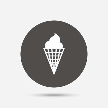 waffle cone: Ice Cream in waffle cone sign icon. Sweet symbol. Gray circle button with icon. Vector