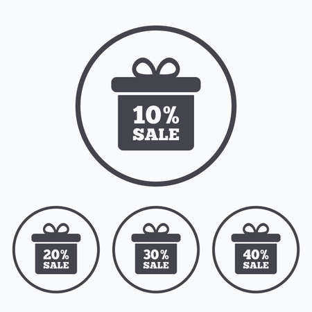 20 30: Sale gift box tag icons. Discount special offer symbols. 10%, 20%, 30% and 40% percent sale signs. Icons in circles.