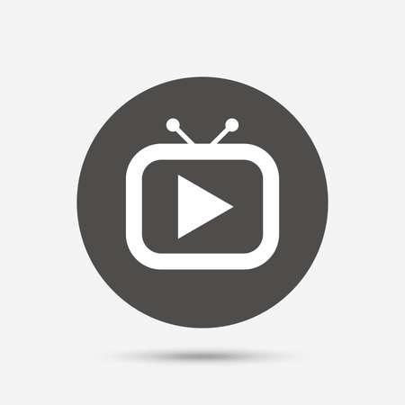 television set: Retro TV mode sign icon. Television set symbol. Gray circle button with icon. Vector
