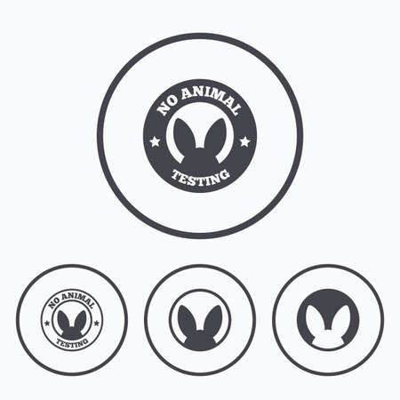 lab test: No animals testing icons. Non-human experiments signs symbols. Icons in circles.
