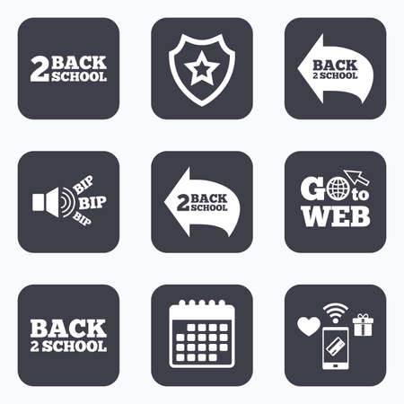 semester: Mobile payments, wifi and calendar icons. Back to school icons. Studies after the holidays signs symbols. Go to web symbol. Illustration