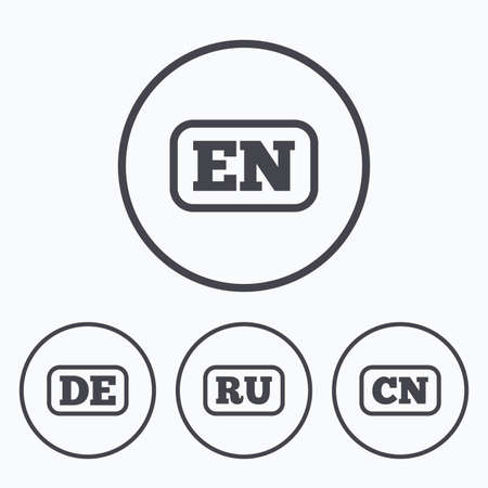 Language icons. EN, DE, RU and CN translation symbols. English, German, Russian and Chinese languages. Icons in circles. Ilustração