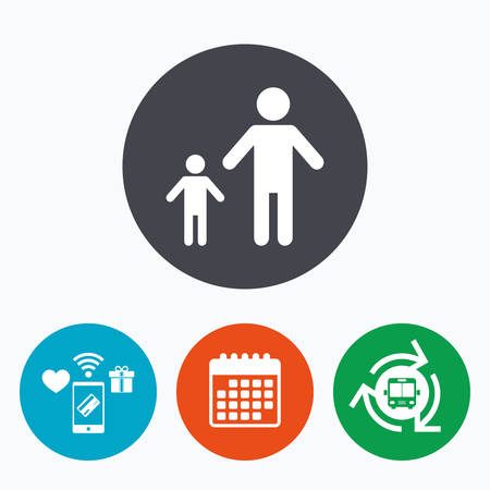family with one child: One-parent family with one child sign icon. Father with son symbol. Mobile payments, calendar and wifi icons. Bus shuttle.