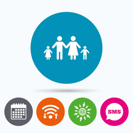 two children: Wifi, Sms and calendar icons. Family with two children sign icon. Complete family symbol. Go to web globe. Illustration